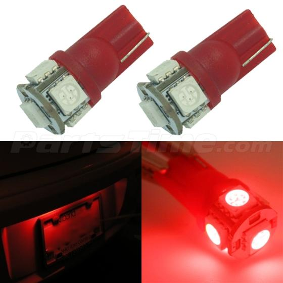 2x Red T10 Wedge 168 194 921 Interior Led Lamps License Plate Lights 5 Smd Bulbs Ebay