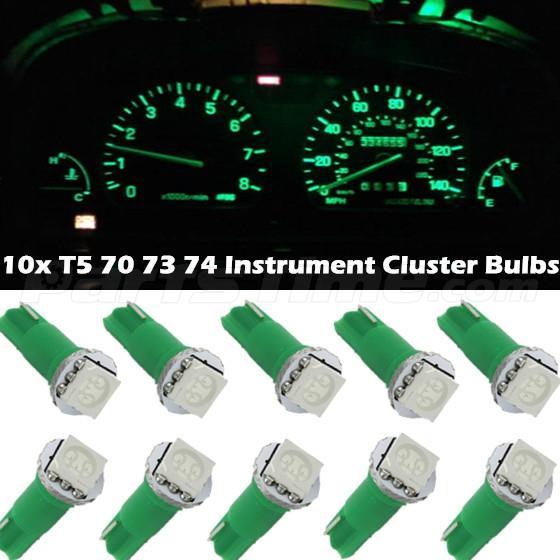 10x Green T5 74 37 73 5050 SMD Instrument Speedo Dash LED