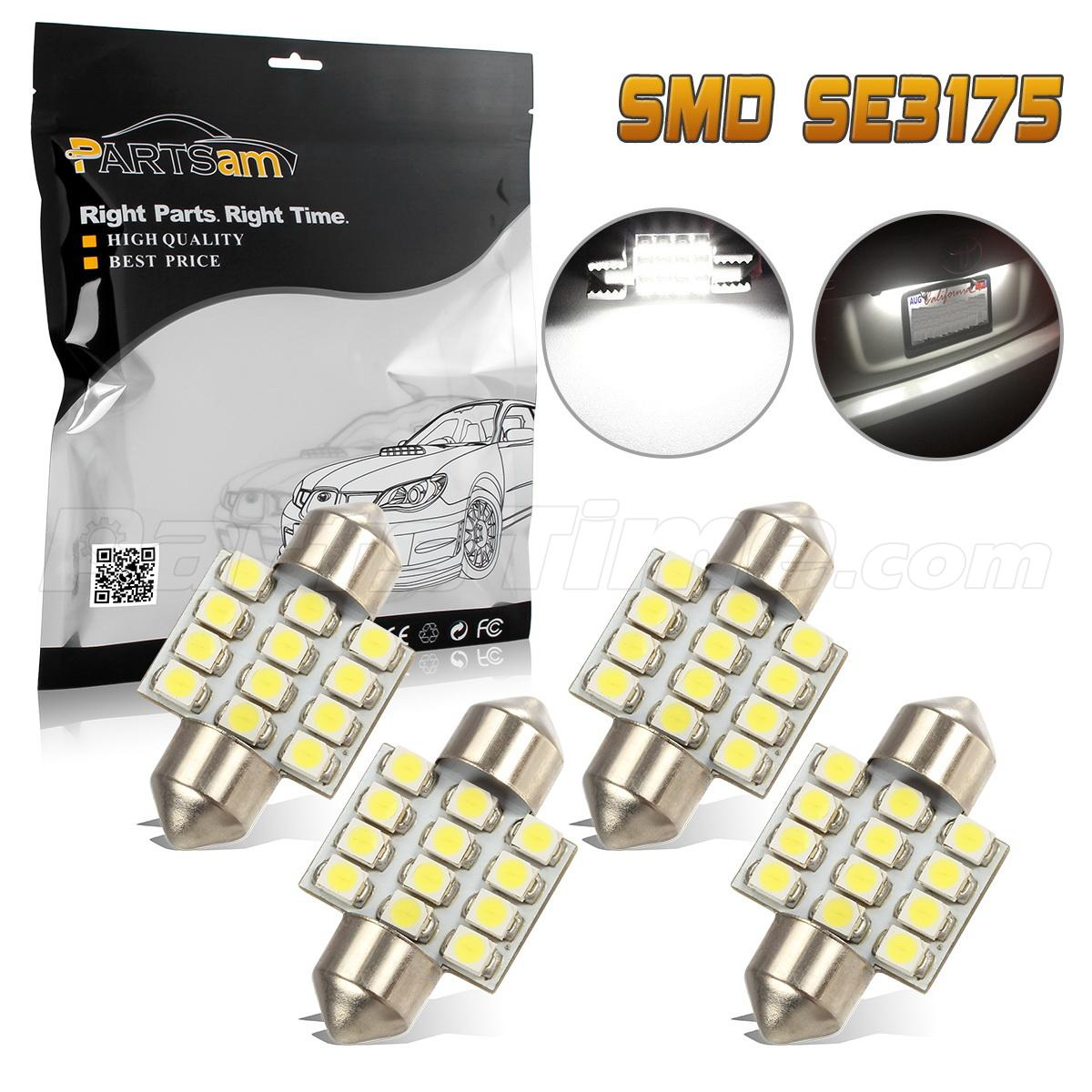 4x white 12smd de3175 led bulbs for car interior dome map lights 12v ebay. Black Bedroom Furniture Sets. Home Design Ideas
