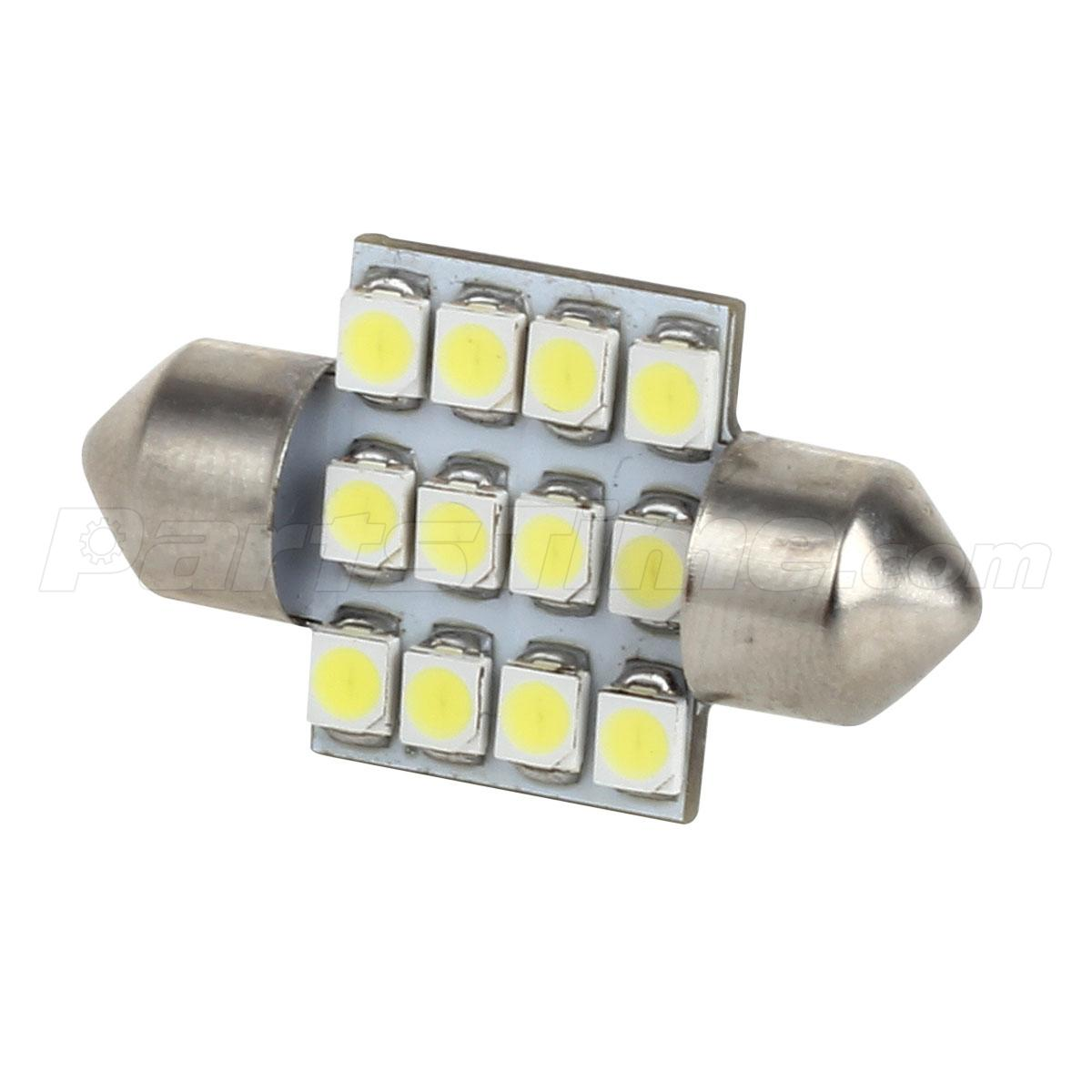 4x white 12smd de3175 led bulbs for car interior dome map lights 12v. Black Bedroom Furniture Sets. Home Design Ideas