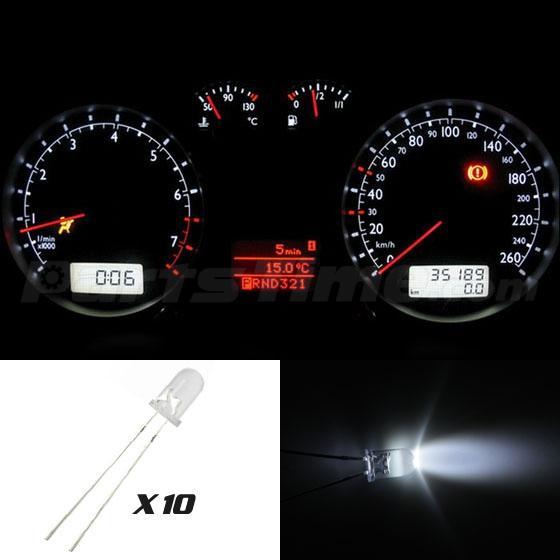 10x White Mini White Led Bulbs For Gm Instrument Gauge